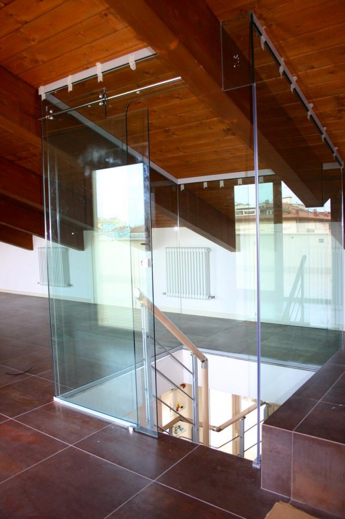 Pareti in vetro sistemi ad impacchettamento vetreria a - Scale scorrevoli per biblioteche ...