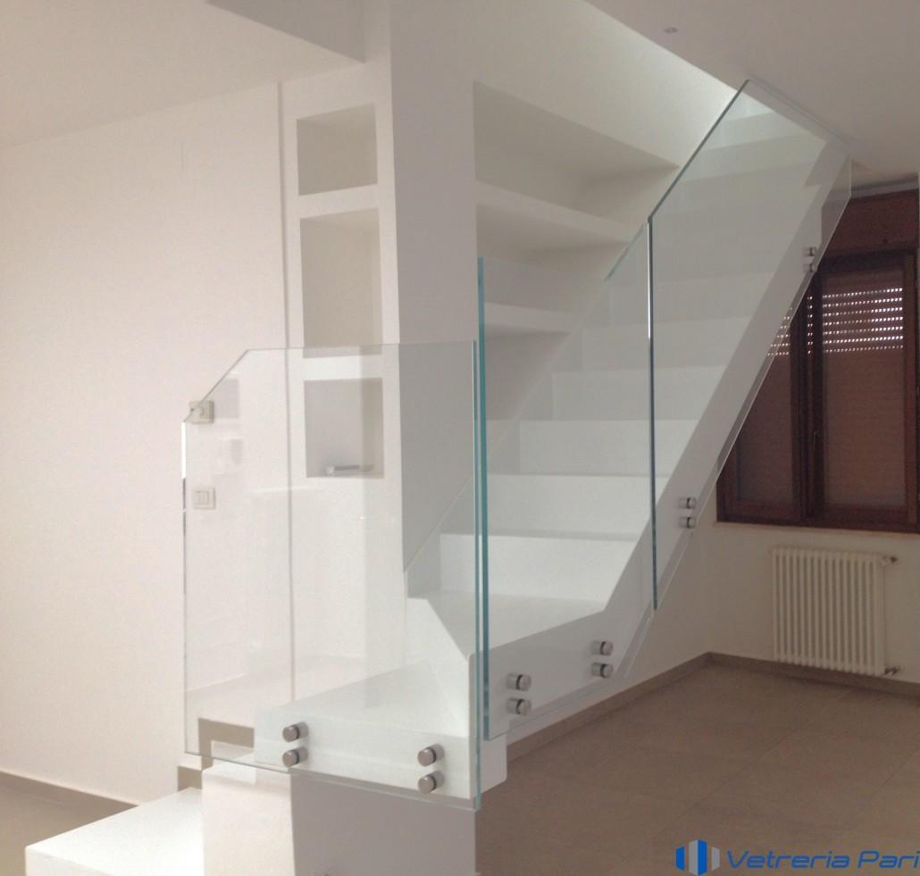 Parapetti balaustre balconi vetreria a rimini vetreria pari - Corrimano in vetro per scale ...