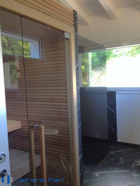 Porta in vetro per sauna in legno