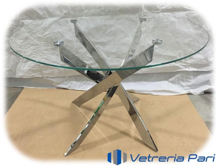 Piano per tavolo in vetro con ancoraggi INOX su base in acciaio