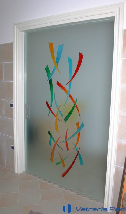 Porta in vetro per interni decorata Riccione